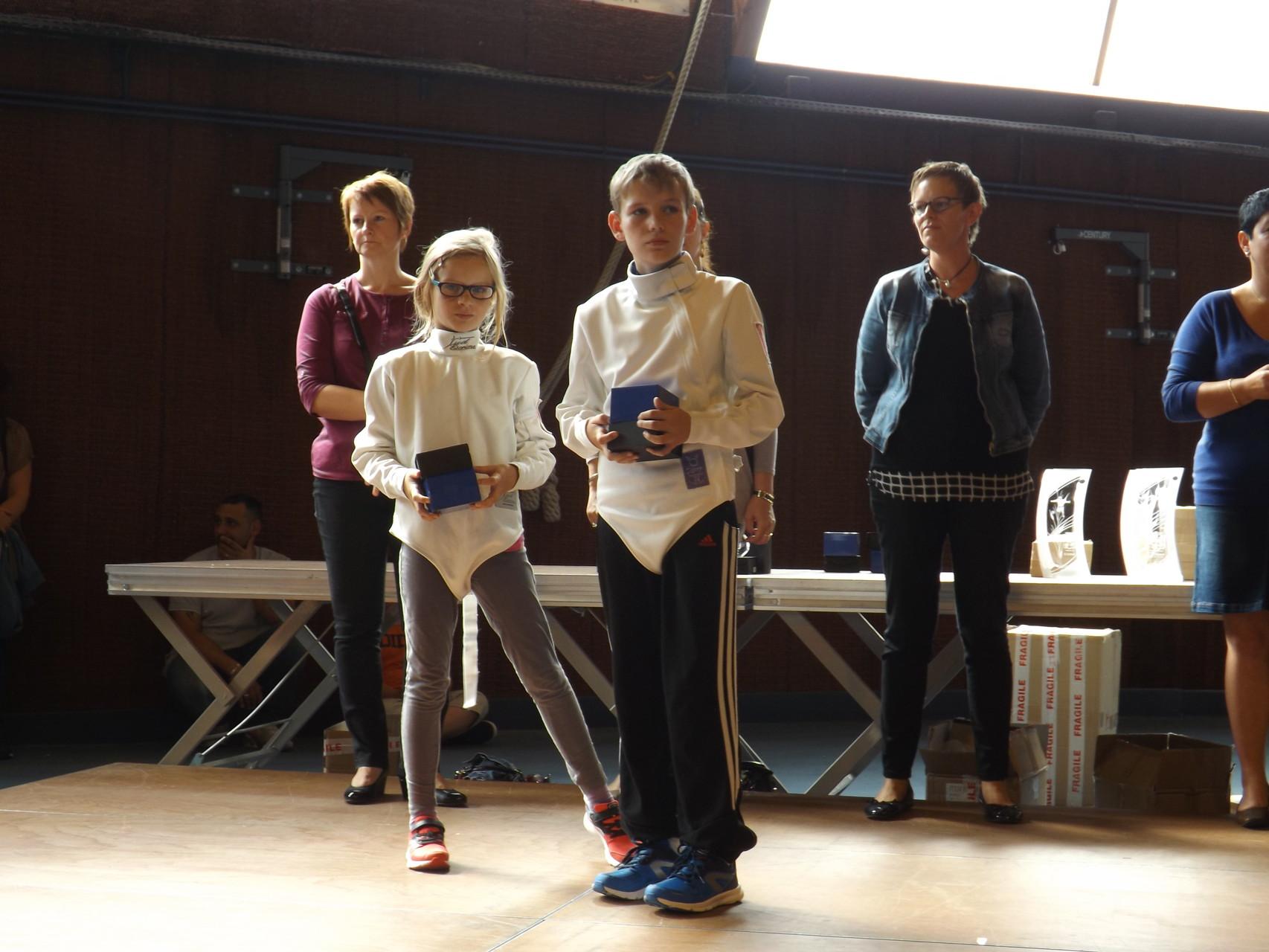 Guillaume et Camille avec leur récompenses aux Trophées des Sports de Boulay 2015