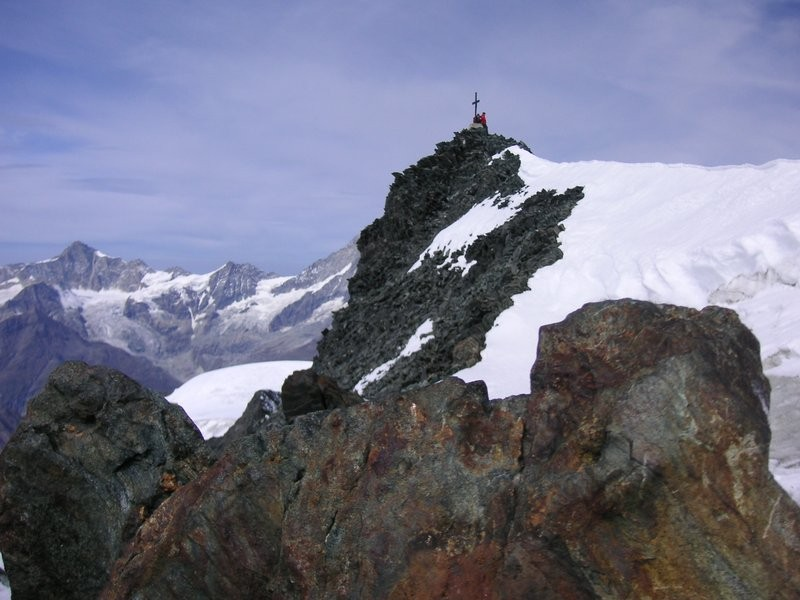 Gipfel vom Allalinhorn in Sicht
