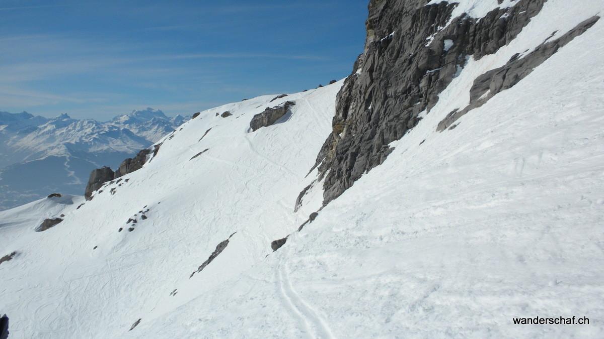 in der Querung unterhalb dem Mont Pucel ist Konzentration angesagt