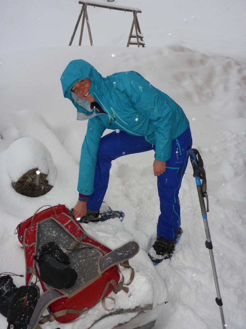 am letzten Tag schneit es und wir steigen nur noch von der Hütte ins Tal ab