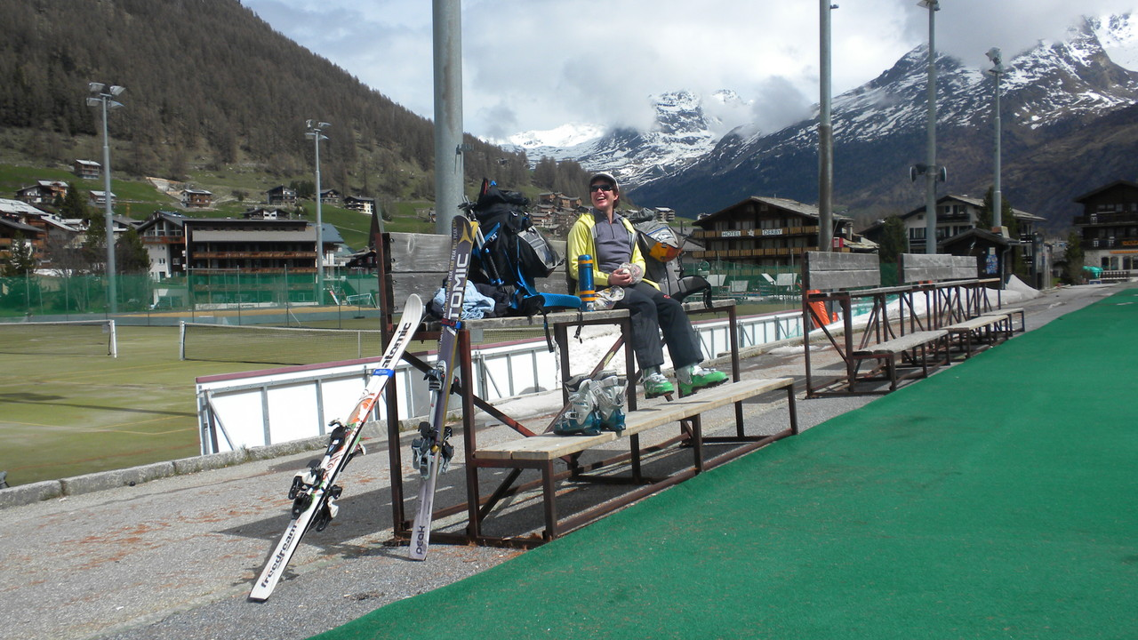 beim Start in Saas Fee