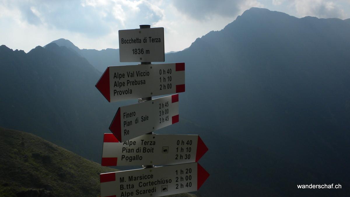 in der Bocchetta di Terza; aufgepasst italienische Zeitangaben sind seeeehr knapp angegeben