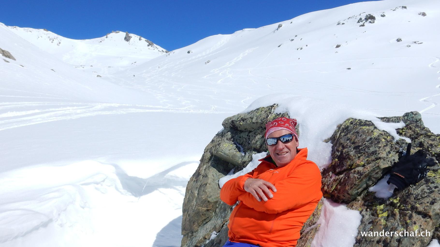 bei der Mittagsrast während der Abfahrt ins Val d'Agnel