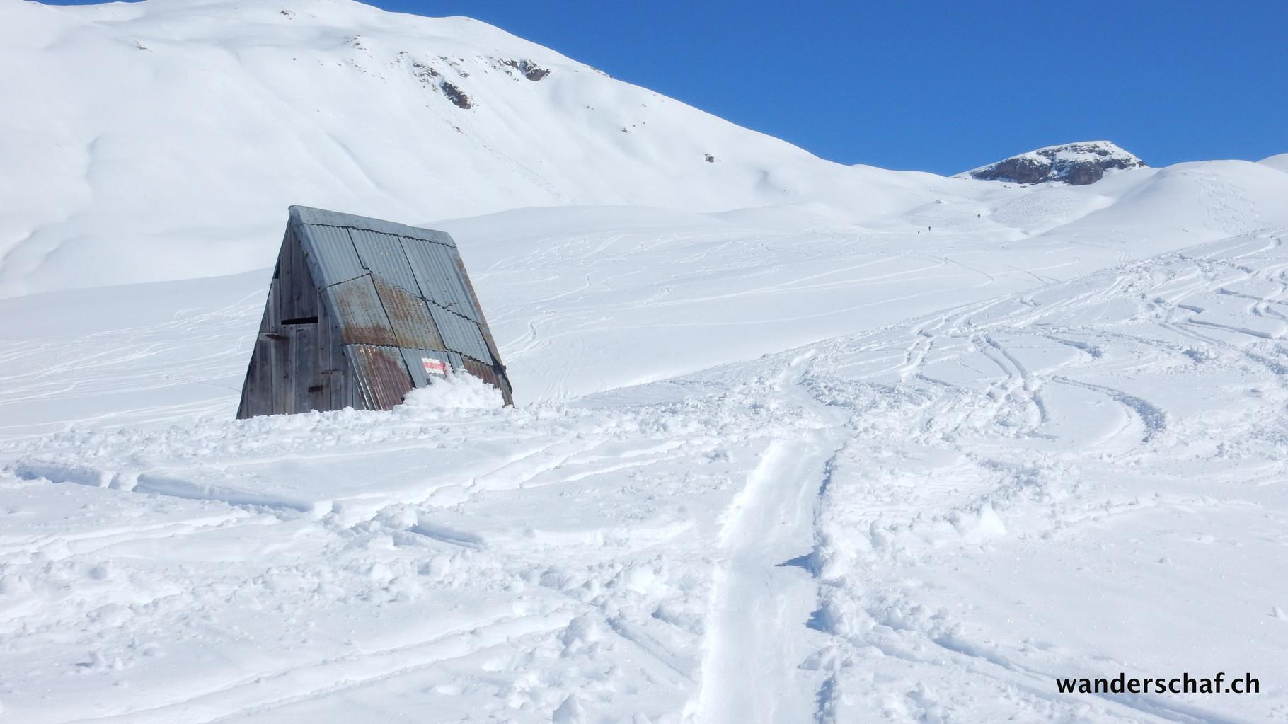 die Schutzhütte im Aufstieg zum Roccabella