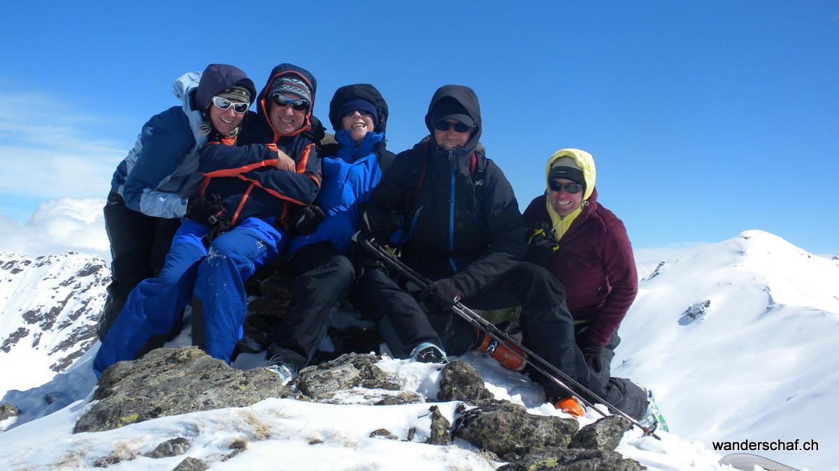 Gruppenfoto auf unserem höchsten Punkt Spi da Minschuns
