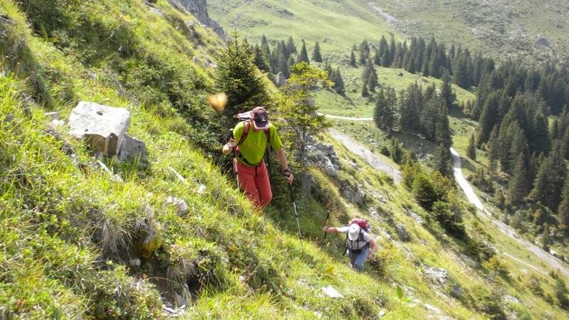 unsere Variante; steile Traverse von Chummlihütte Richtung Gantrischböde