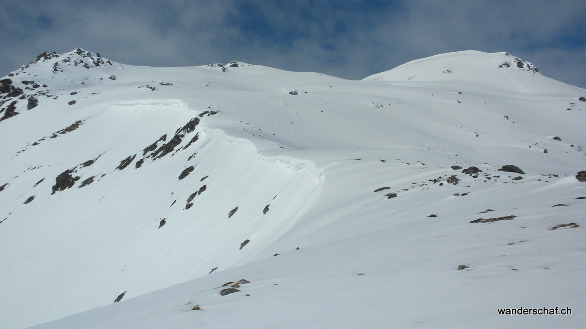 Blick von der Fuorcla Sassalba zum Gipfel Muntet