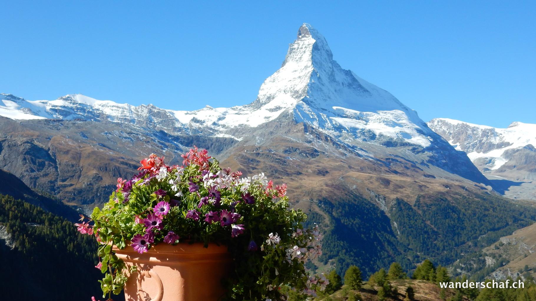 herrliche Aussicht von der Terrasse auf Sunegga
