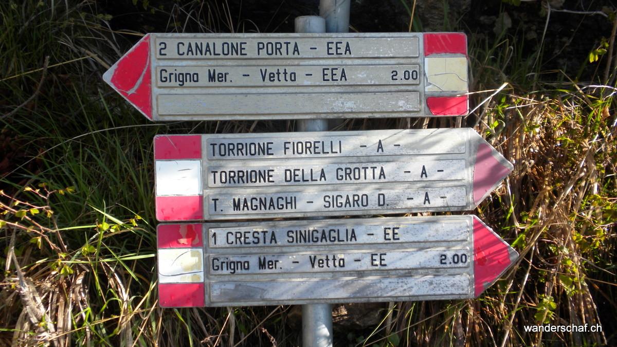 wir wählen den Aufstieg über die Cresta Sinigaglia