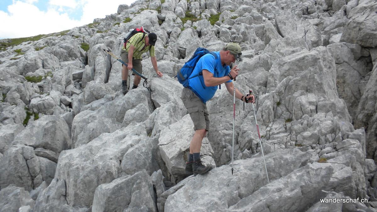 im Abstieg geht's über Stock und Stein.....