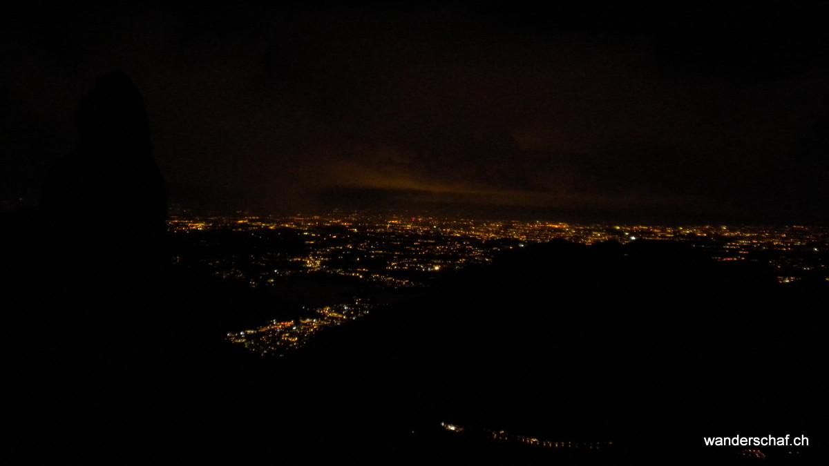 das Lichtermeer vom Rifugio Rosalba aus gesehen