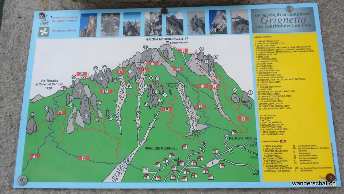 Übersicht über die Wanderwege und Klettergebiete an der Grignetta