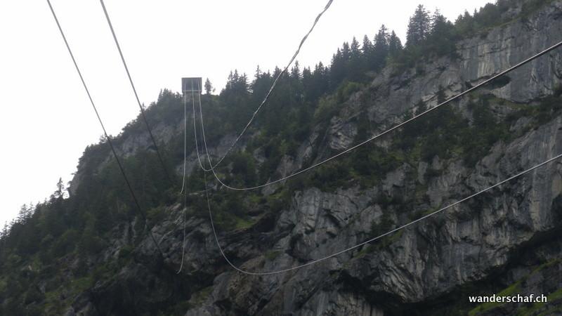 steile Seilbahnabfahrt