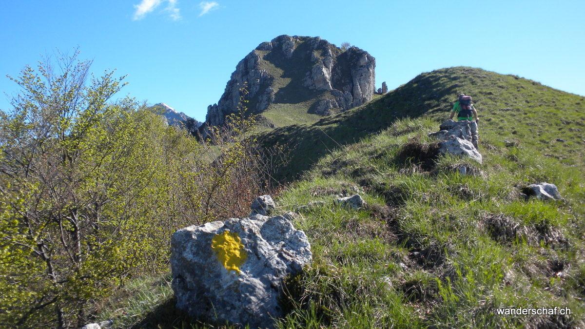 den gelben Punkten folgen wir und besteigen den Gipfel von der Westseite her