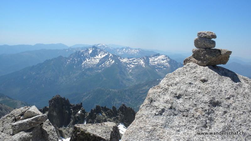 Blick nach Süden; Monte d'Oro und Monte Renoso