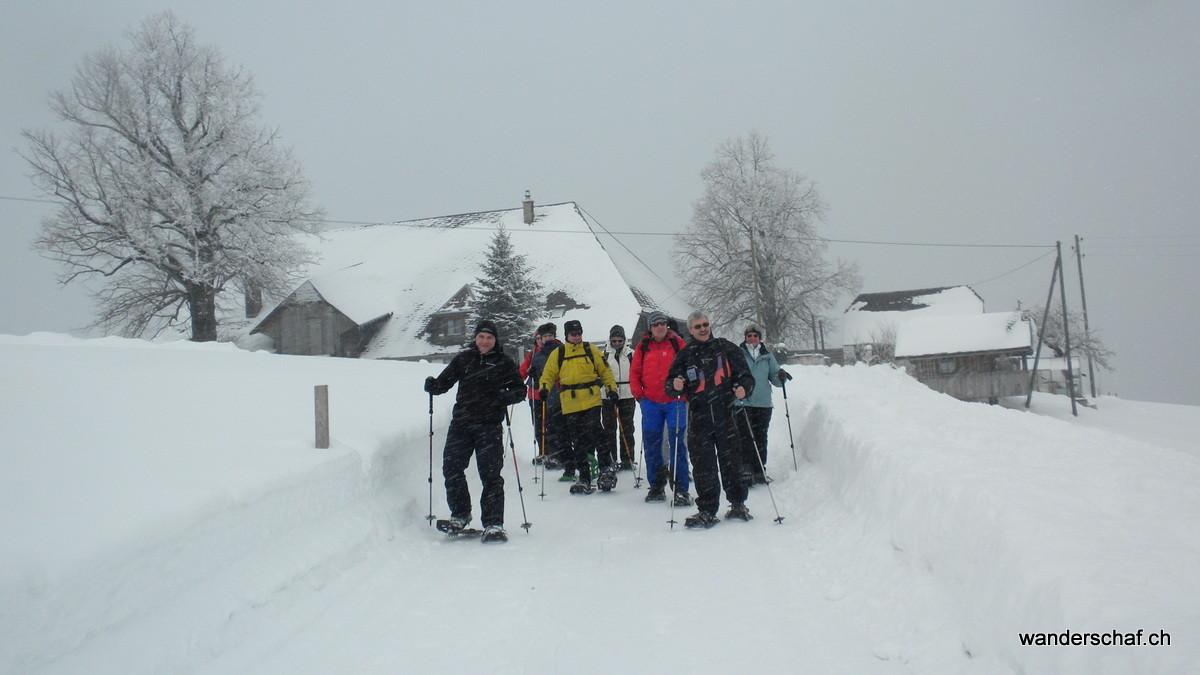 im Schneesturm machen wir uns an den Abstieg