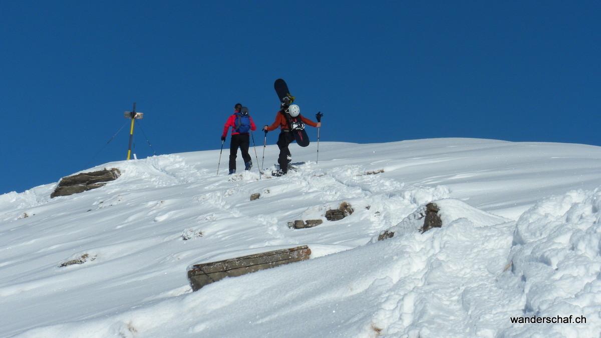 Ankunft auf dem Gipfel vom Mäggisserehore