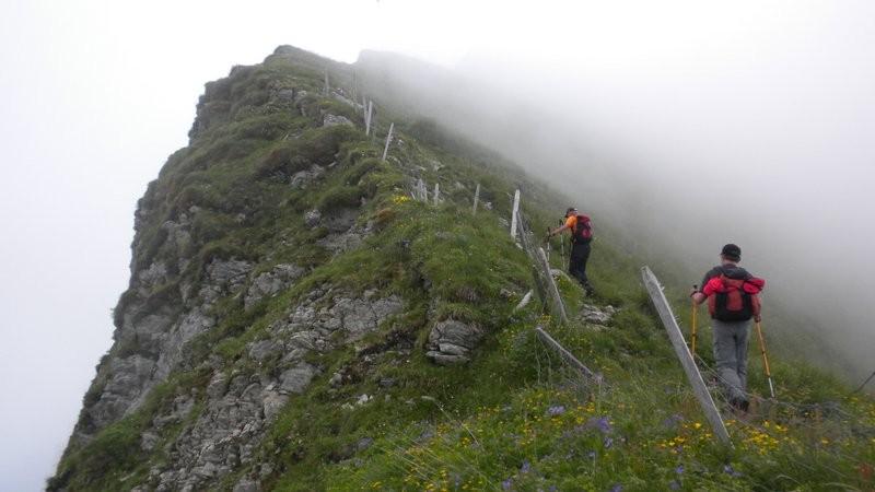 leider nebelt es den Gipfel vom Schopfenspitz ein