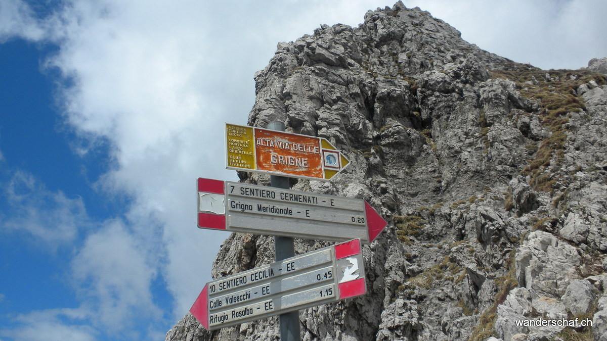 im Abstieg über den spannenden Sentiero Cecilia
