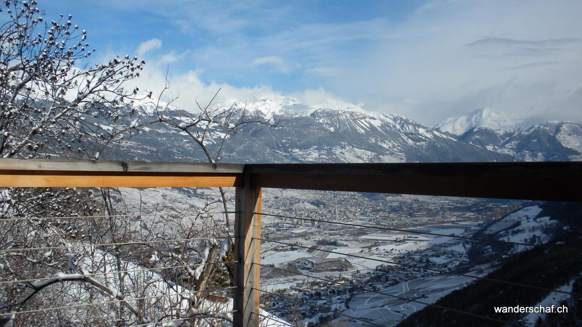 der Balkon hängt über dem Val Réchy