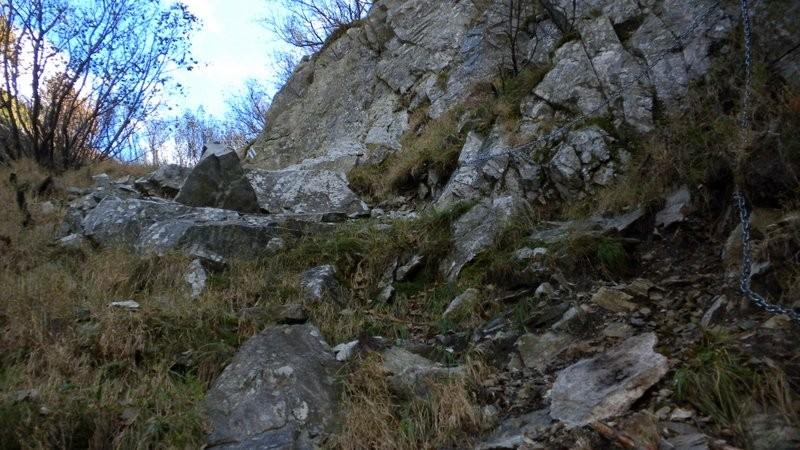 der steile und mühsame Abstieg durchs Couloir