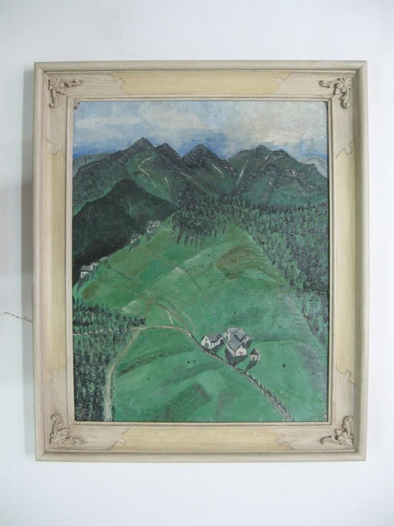 Dipinto ad olio con cornice concava dipinta in avorio chiaro con cartelle in colore differente e decorazioni in pastiglia agli angoli.