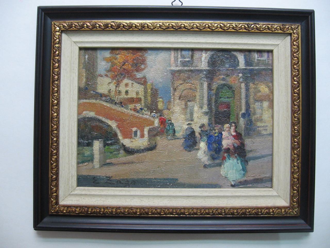 """Dipinto ad olio ottocentesco con cornice mogano sagomata con greca in foglia oro, """"marie-louise"""" sagomata in legno tinto avorio."""