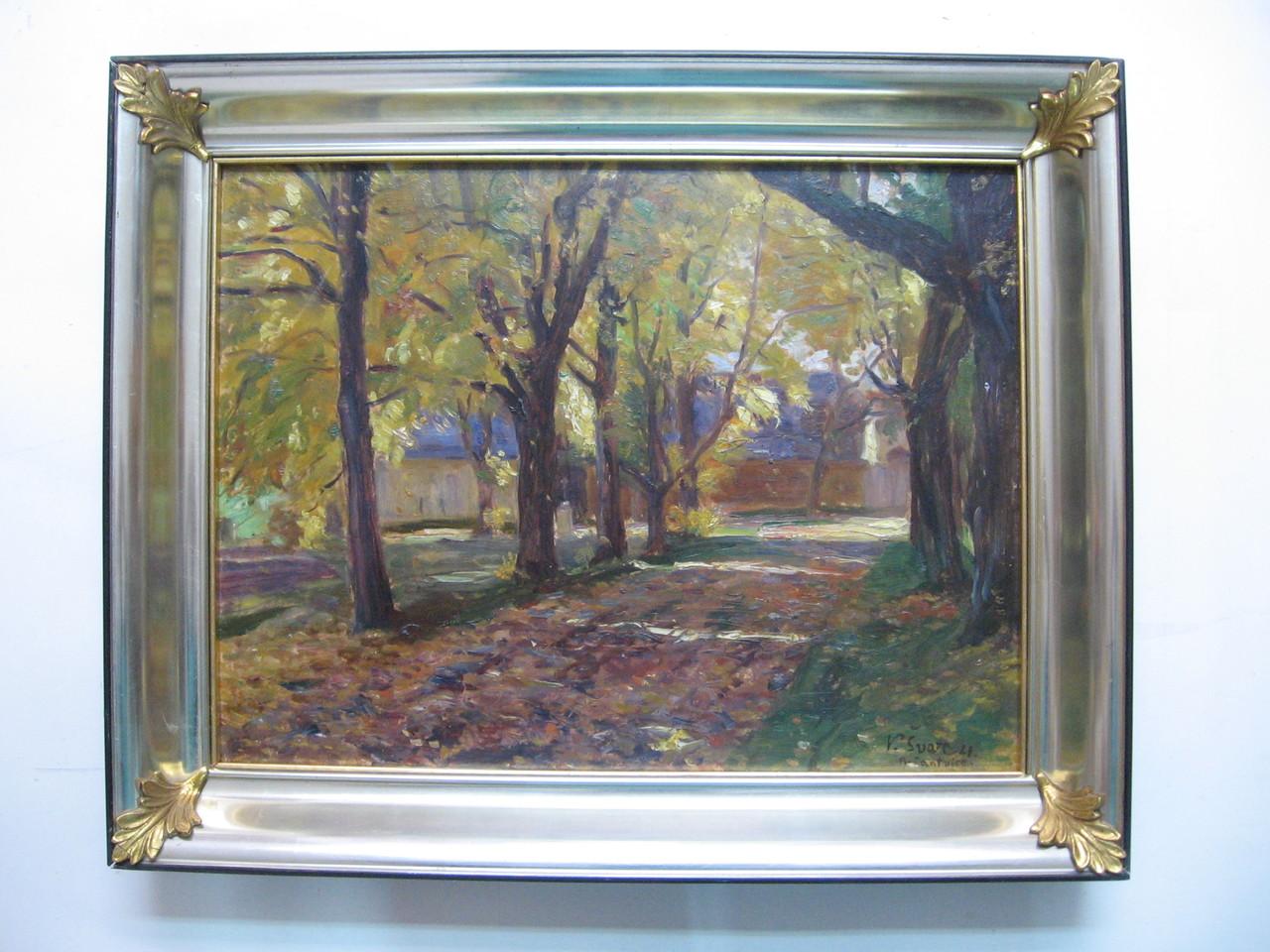 Dipinto ad olio con cornice ottocentesca a guantiera in foglia di platino con decorazioni e filetto interno in foglia d'oro.