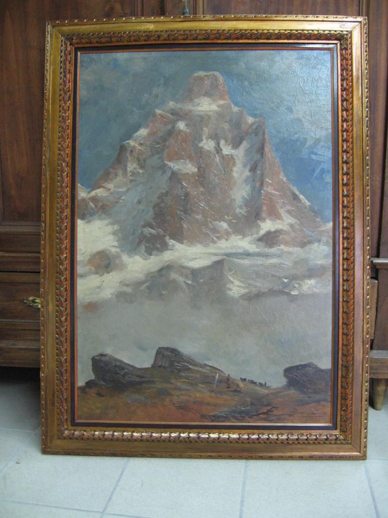Dipinto ad olio novecentesco con la sua cornice originale restaurata.