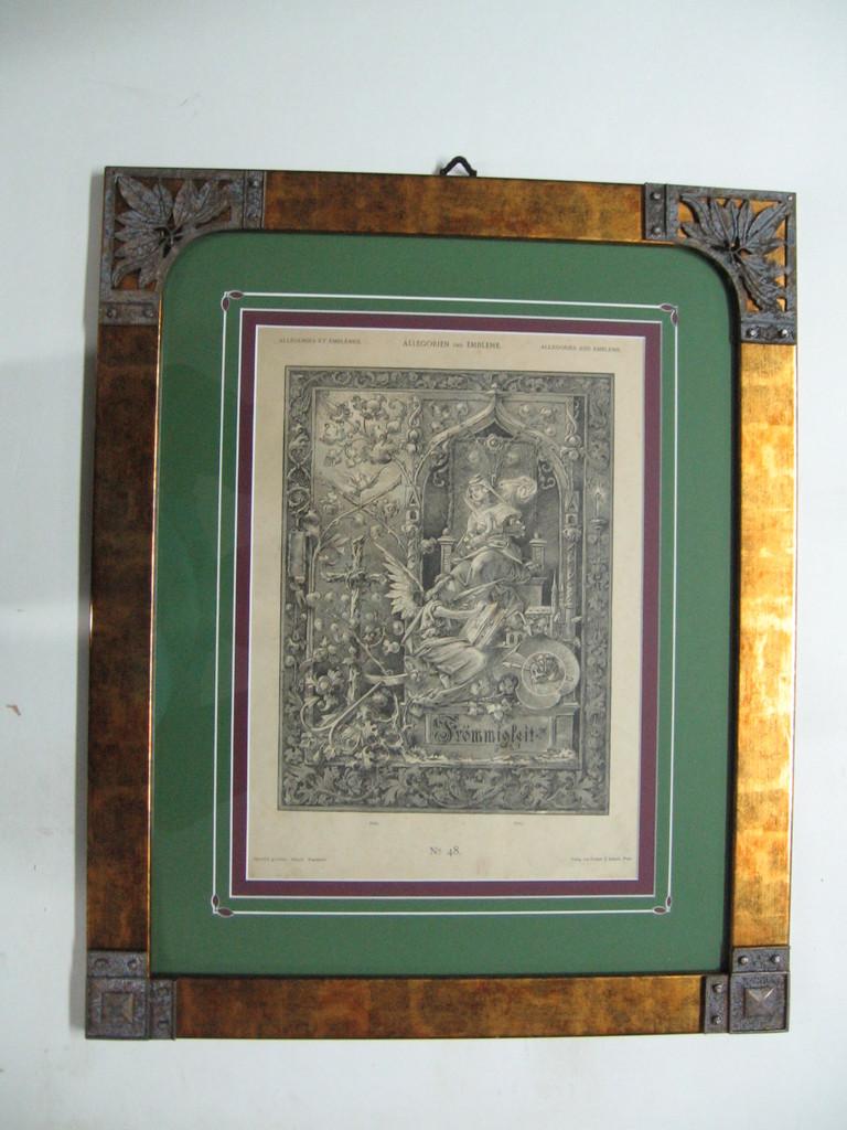 Incisione del '900 con cornice oro con angoli in zama art nouveau, passepartout a smusso doppio intarsiato.