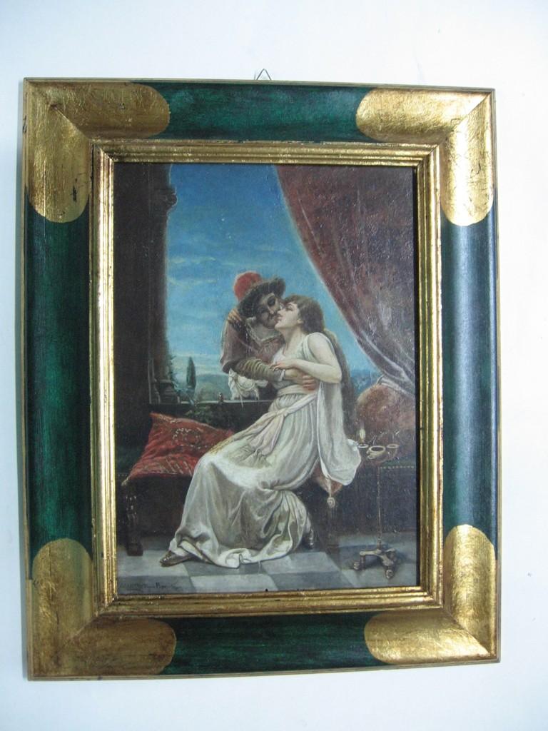 Dipinto ad olio con cornice rovesciata dipinta in tempera verde e cartelle in foglia oro agli angoli.