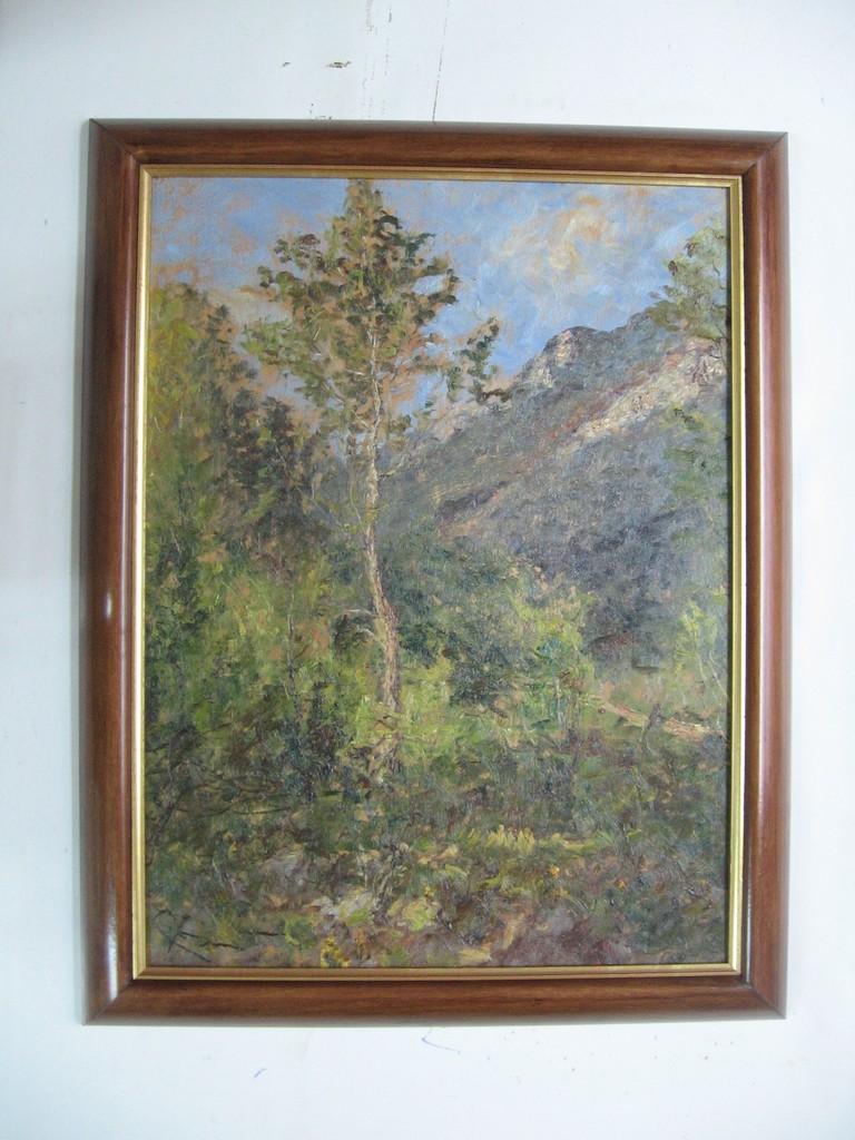 Dipinto ad olio novecentesco con cornice in ciliegio massello lucidata a cera e profilo interno in foglia oro.