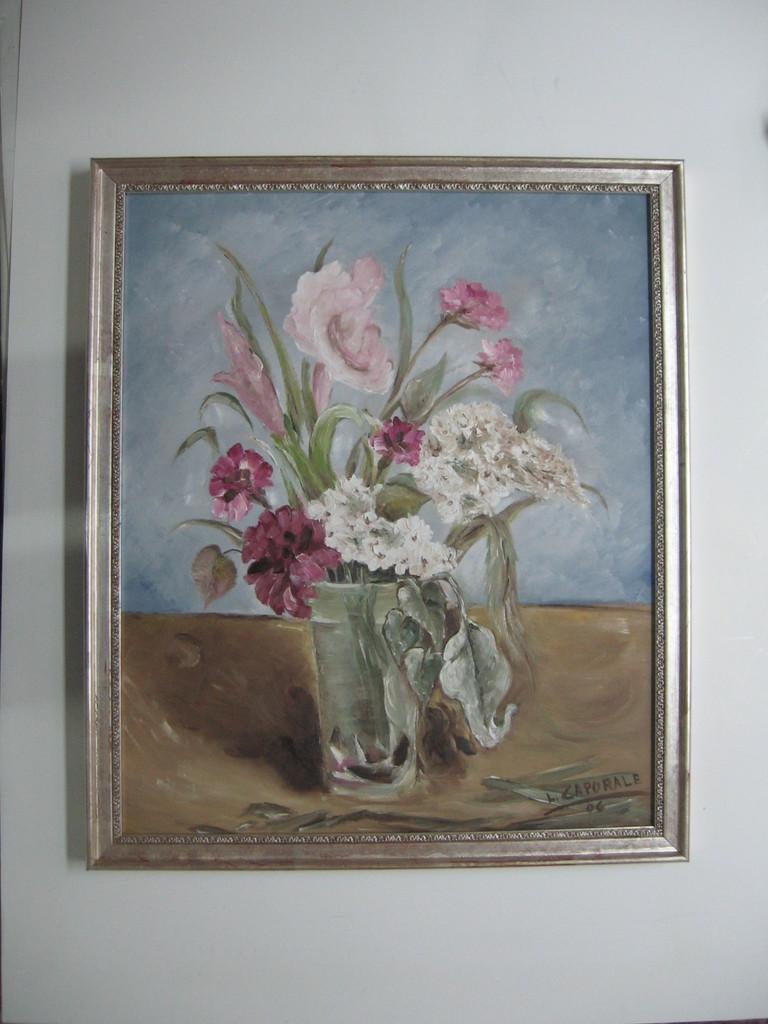 Dipinto ad olio comn cornice con greca in foglia argento.