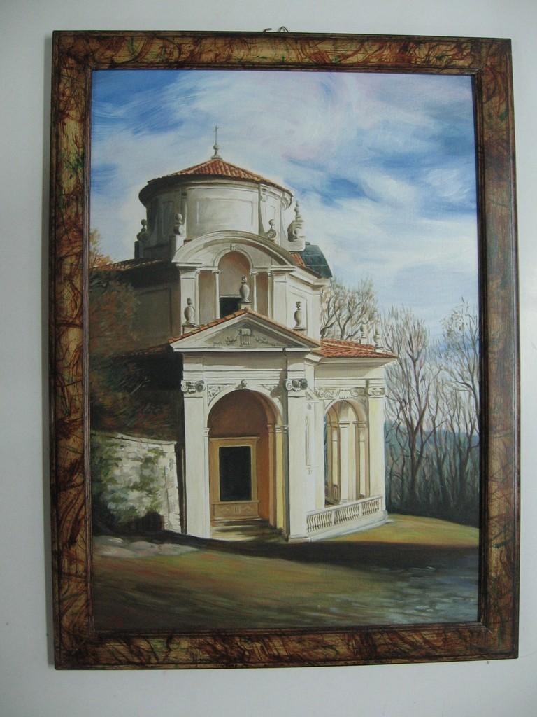 Dipinto ad olio con cornice marmorizzata.