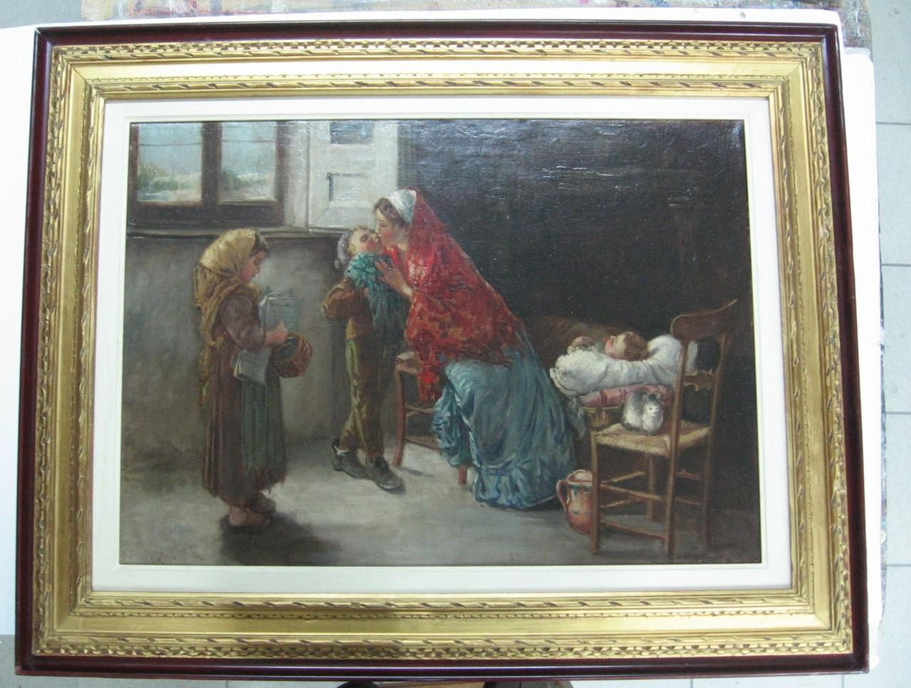 Dipinto ottocentesco con la sua cornice originale in foglia oro restaurata.