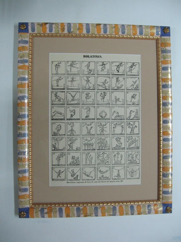Incisione con cornice dipinta in vari colori, angoli con decorazioni in pastiglia dorate, greca interna in foglia oro.