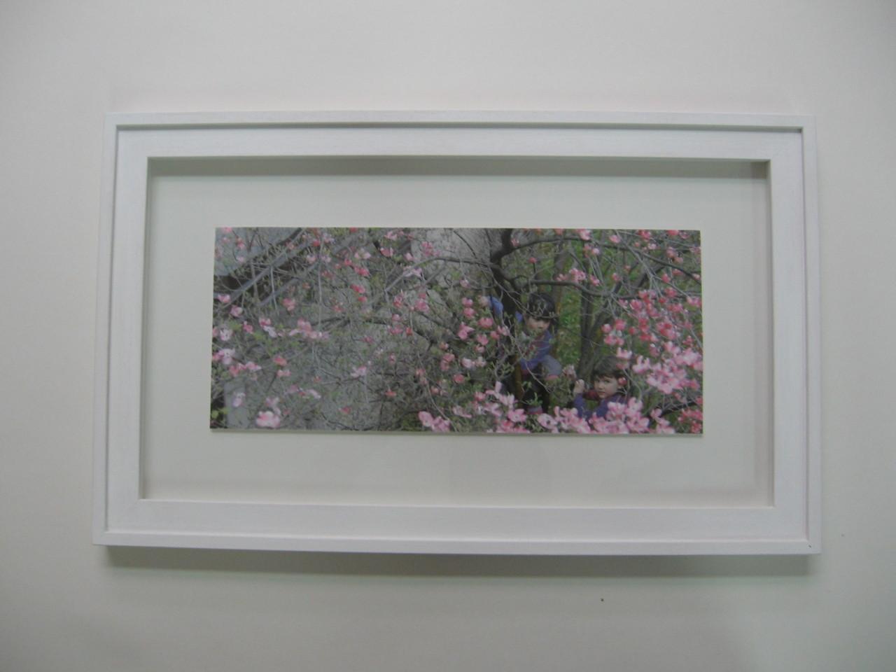 Foto a colori con cornice sagomata bianca e passepartout a smusso.