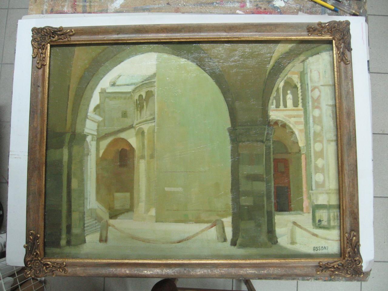 Dipinto ad olio ottocentesco con cornice a guantiera dipinta e patinata, sguscio in foglia oro e decorazioniagli angoli.