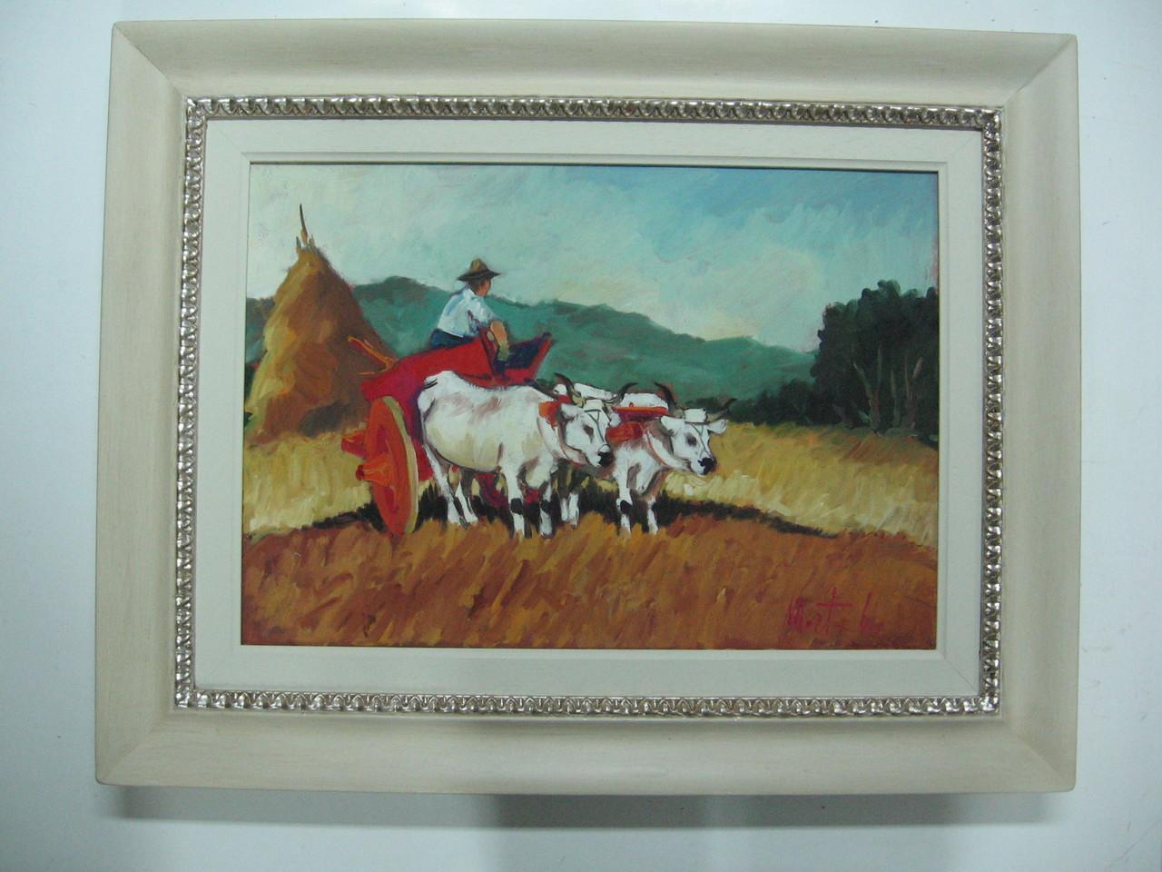 Dipinto ad olio con cornice a guantiera bianca con greca in foglia argento, passepartout in legno.