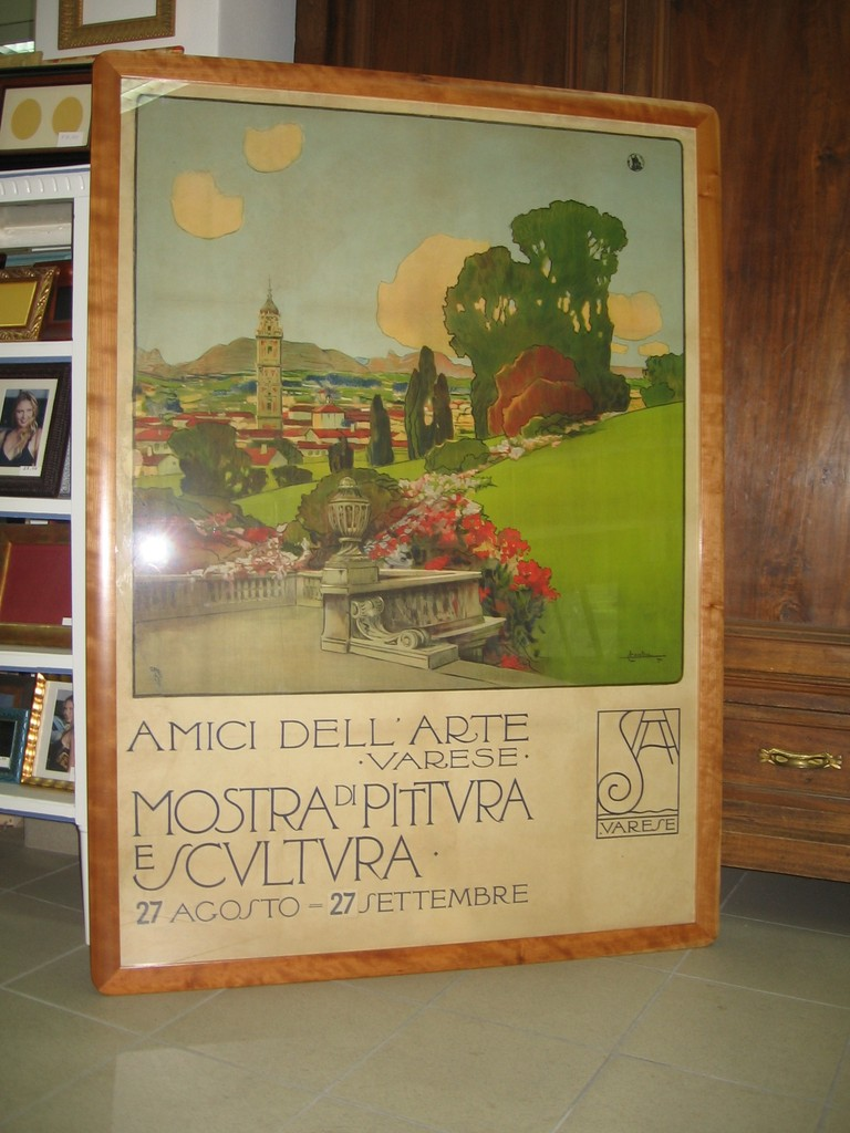 Grande manifesto del '900 con cornice in ciliegio massello.