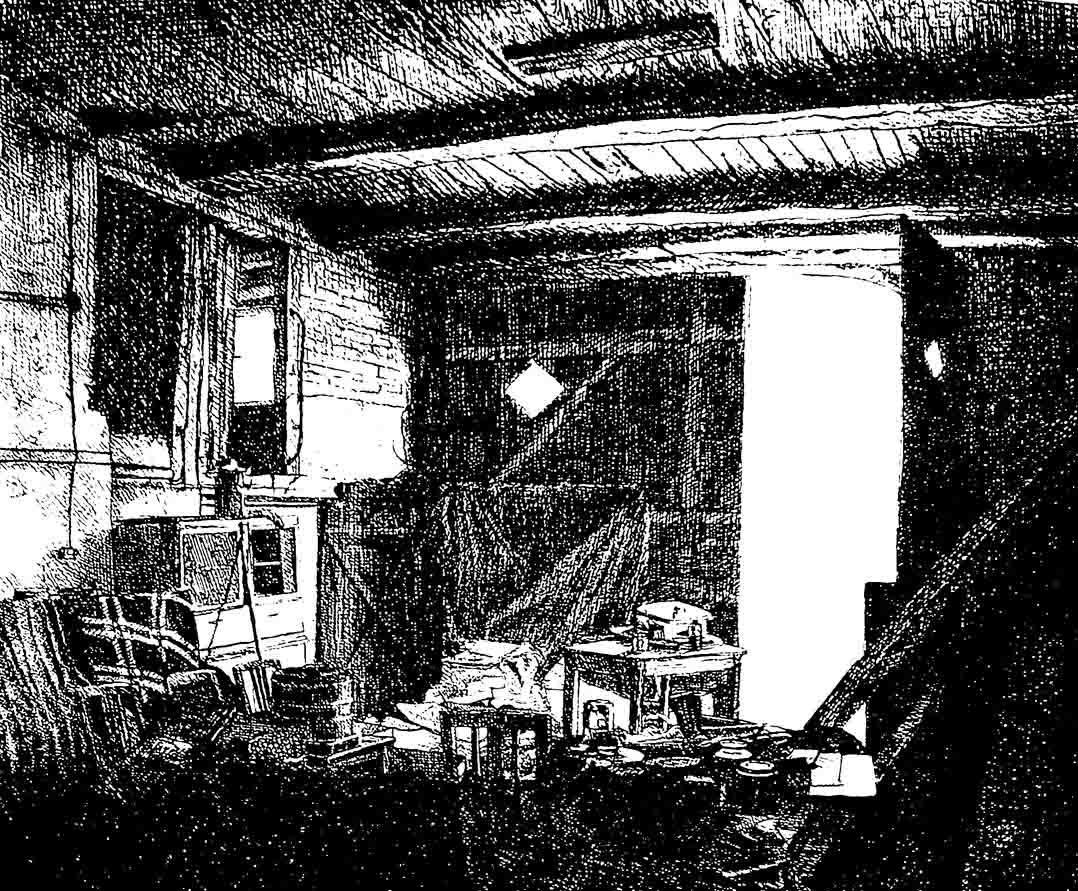 SCHRÖDERS SCHEUNE (Detail), Radierung, 38x45cm