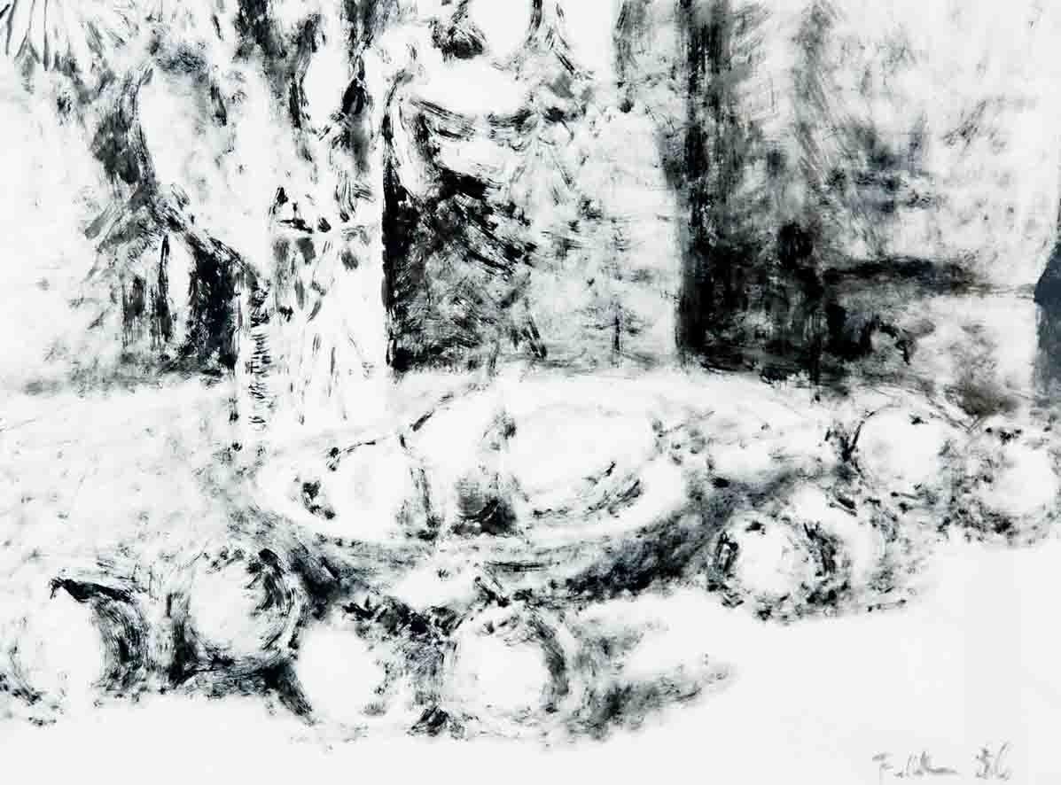 STILLEBEN, Tusche in trockener Pinseltechnik mit modifiziertem Borstenpinsel, 43x61