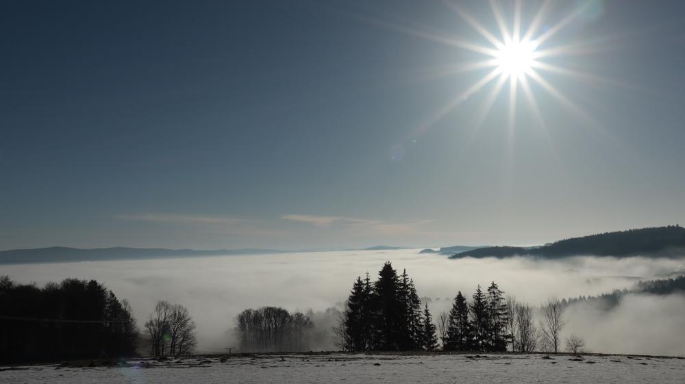 Jägerbild sommerliche Temperaturen,  Breitenberg noch im Nebel