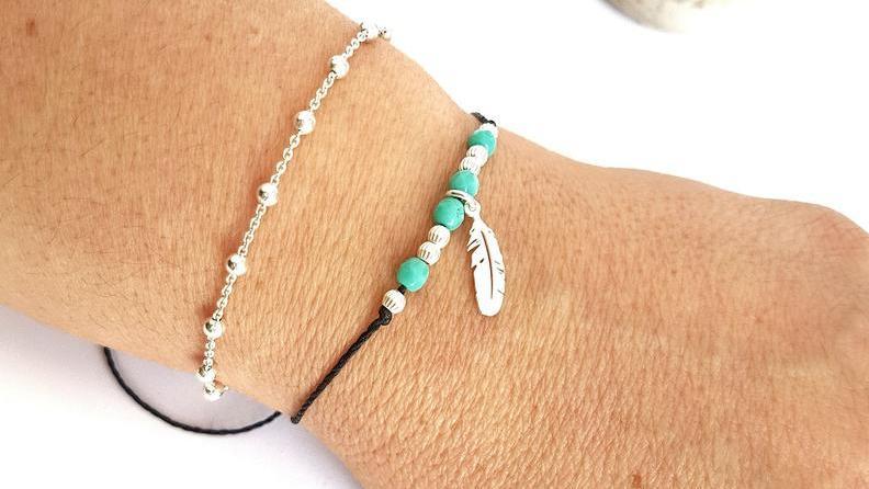 PLUME - Bracelet Argent 925 et perles sur cordon
