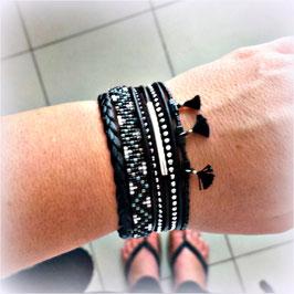 Bracelet manchette HIRO boho-chic noir et argenté