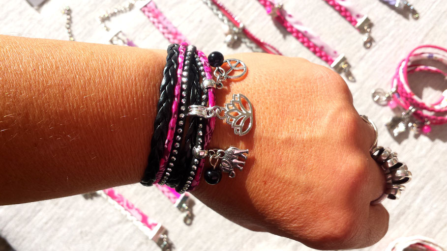 bracelet-fleur-de-lotus-manchette-multi-tours-éléphant-peace-and-love-perle-noir-argent-rose-strass-fait-main-en-france
