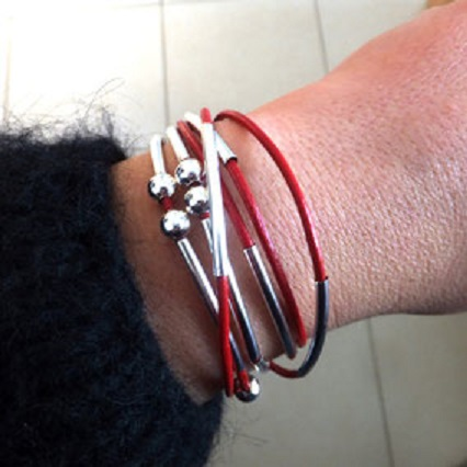 Bracelet YOU personnalisable et transformable cuir rouge