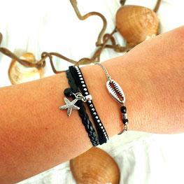 WAI-Bracelet mini, bracelet ETOILE, bracelet plage,  bracelet noir, étoile de mer, bracelet fait main