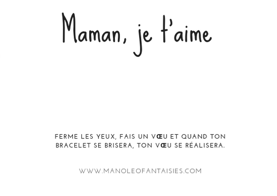 Collection de bracelet message Maman, je t'aime Manoléo Fantaisies