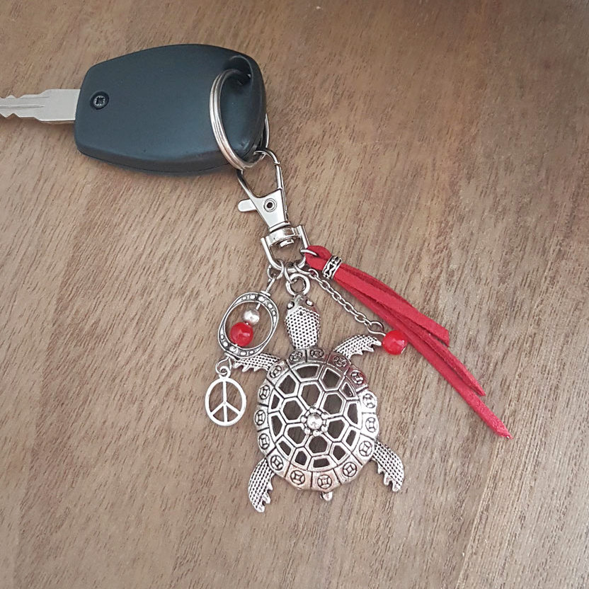 TORTUE - Bijou de sac tortue ou porte-clés TORTUE, porte clés rouge, accessoire de sac,  porte clés pompon, porte clés fait main